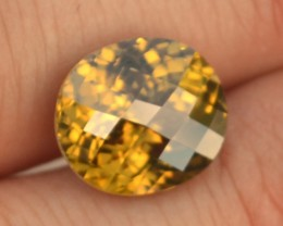 9.66 Carat Fantastic Oval Checkerboard Cut Yellow Zircon