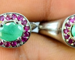 36.15 cts Beautifull Emerald Ladies Earrings with 925 Silver