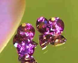 An Incredibly Beautiful Mulberry Pink Rhodolite Garnet Parcel 5 gems 4.50mm