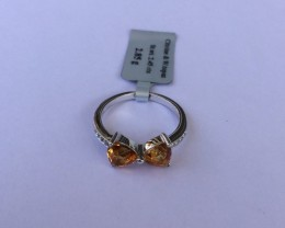 Citrine Sterling silver ring #563