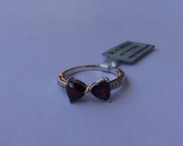 Garnet Sterling silver ring #563