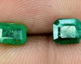 No Reserve - 1.35 cts Natural Emerald Gemstones Pair From Afghanistan