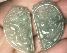 142.50cts FINELY CARVED JADEITE JADE PAIR PENDANTS SOUL MATES