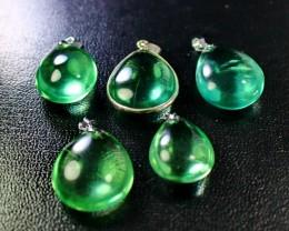 5 Pcs228 CT Natural - Unheated Green Fluorite Pendant
