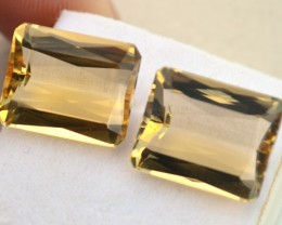 17.93 Carat Very Fine Matched Pair of Scissor Cut Citrines