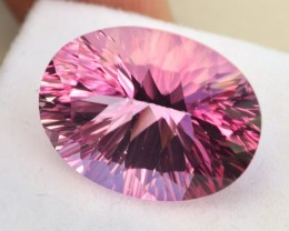 21.73 Carat Fine Oval Millennium Cut Pink Topaz