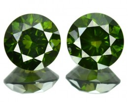 2.63 Cts Natural Fancy Green Diamond Round Pair Africa