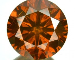 1.07 Cts Natural Orangish Red Diamond Round Africa