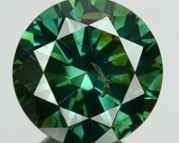 0.83 Cts Natural Blue Green Diamond Round Africa