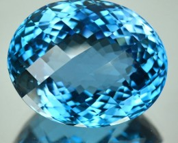 30.78 Cts Natural London Blue Topaz Oval Checkerboard Cut Brazil