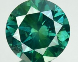 0.68 Cts Natural Blue Green Diamond Round Africa