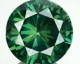 0.71 Cts Natural Blue Green Diamond Round Africa
