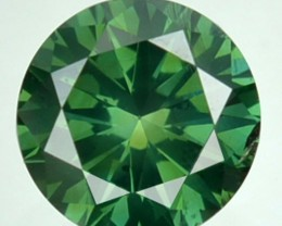 0.65 Cts Natural Blue Green Diamond Round Africa