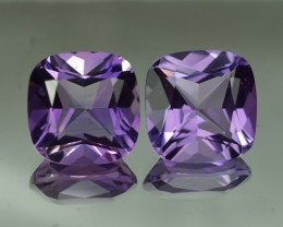 30.60 CT 16 X 16MM TOP QUALITY AMETHYST PAIR BRAZIL GEM