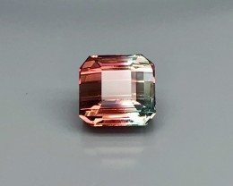 4.55 CT Natural Bi Color Tourmaline   Beautiful Faceted Gemstone S31