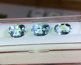 5.75 cts VVS AQUAMARINE TRIO - Brazilian - High End Stones! $450
