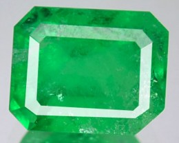 CERTIFIED 1.15 Cts Natural Green Emerald Octagon