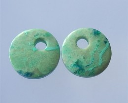 50ct Natural Chrysocolla Earring Pair wholesale gemstone (18032103)