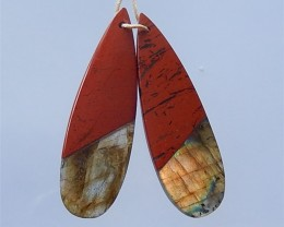 37ct Red River Jasper  And Labradorite  Earring Pair(18032104)
