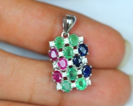 14.90ct Sterling Silver 925 Natural Sapphire Ruby Emerald Pendant GW1032