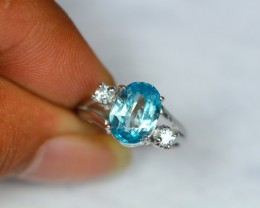 13.48ct Sterling Silver 925 Natural Blue Zircon Sz 6.25 Ring GW1038