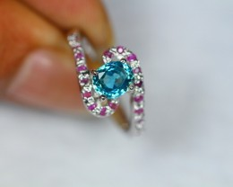 24.63Ct Sterling Silver 925 Natural Blue Zircon Sz 8.75 Ring V1005