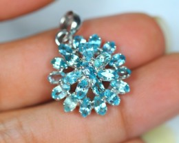 20.97ct Sterling Silver 925 Natural Blue Zircon Pendant GW1046