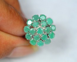 27.63ct Sterling Silver 925 Natural Emerald Sz 7 Ring GW1049