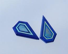 7.5ct Malachite , Blue Aquamarine And Lapis Lazuli Cabochons Pair(18032206)