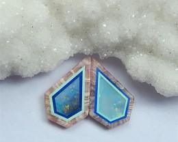 8ct Blue Aquamarine ,Lapis Lazuli And  Argentina Rhodochrosite  Cabochons P