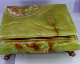 1870 CT Natural - Unheated Onyx Carved Jewelry Box Stone Special Shape