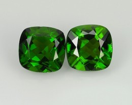 2.10  Cts Eye Catching Natural Rich Green Chrome Diopside Cushion Pair