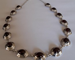 Garnet Necklace 925 Sterling silver #33711