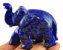 Genuine 550.00 Cts Lapis Lazuli Carved Elephant