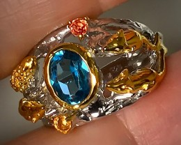 A ring of Creatures! London Blue Topaz, Sapphire Gems .925 Sterling Silver,