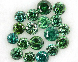 0.84 Cts Natural Green Diamond Round 18 Pcs Parcel