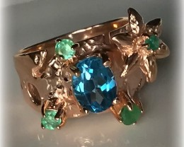 Swiss Blue Topaz Emerald Rose Gold over Sterling Silver Ring size 7.5