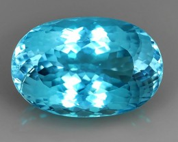 30.70 CTS BRILLIANT SWISS BLUE NATURAL TOPAZ OVAL