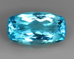 38.70 CTS BRILLIANT SWISS BLUE NATURAL TOPAZ CUSHION