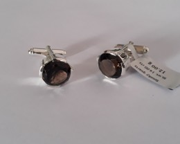 Smokey quartz 925 Sterling silver cuff links #35517