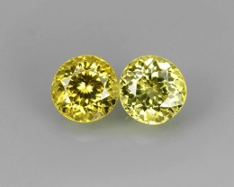 STYLISH TOP NEW RARE NATURAL ROUND YELLOW MALI GARNET 2 PCS