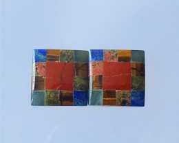 18ct Square Red River Jasper,Lapis Lazuli,  Unakite Jasper And Obsidian  Co