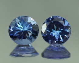 5X5 MM AAA QUALITY TANZANITE ROUND PAIR