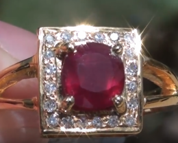 Tanzanian Ruby 1.74ct with Diamonds 18ct Solid Gold Ring