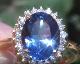 Tanzanite 3.95ct with Diamonds 18ct Solid Gold Ring
