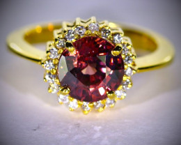 Red Zircon 5.10ct with Diamonds Solid 18K Yellow Gold Cocktail Ring