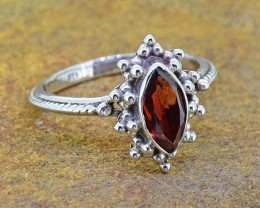 N/R Natural Garnet  925 Sterling Silver Ring(SSR0119)