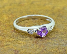 N/R Natural Amethyst  925 Sterling Silver Ring