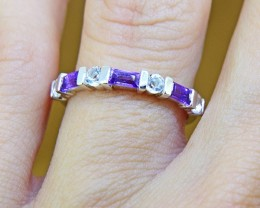 N/R Natural Amethyst & Topaz 925 Sterling Silver Ring(SSR0351)