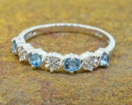 N/R Natural Blue Topaz  925 Sterling Silver Ring(SSR0353)